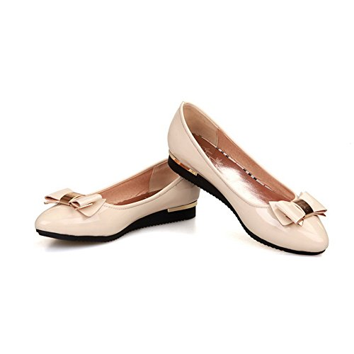 AmoonyFashion Womens Closed Pointed Toe Low Heel Square Heels PU Solid Pumps with Bowknot and Metal Beige wuPwX