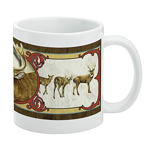 (Deer Deco Buck Hunting White Mug )