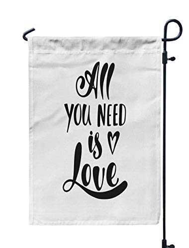 Jacrane Welcome Small Garden Flag 12X18 Inches All You Need Love Romantic Handwritten Phrase Heart to Valentines Day Wedding Postcards Greeting Double-Sided Seasonal House Yard Flags ()