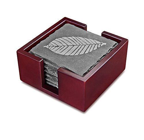 Artaste 28492 Slate Coasters with Etched Leaf, Set of 6 with Solid Wood Holder