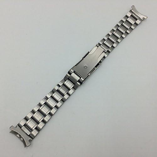 3連 ステンレス 無垢 サイドプッシュ式 腕時計 交換 ベルト 時計バンド バネ棒 付 (04,弓カン 22mm)