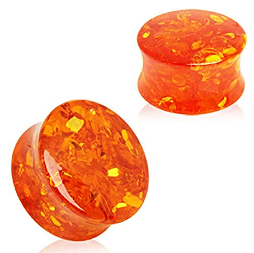 """Freedom Fashion Synthetic Amber Saddle Plug (Sold by Pair) (3/4"""")"""