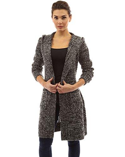 PattyBoutik Mujer puntada abierta chaqueta de punto con capucha marled en blanco y negro
