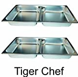 TigerChef TC-20198 Steam Table Pan, Stainless Steel, 2-1/2'' Deep, Full Size (Pack of 2)