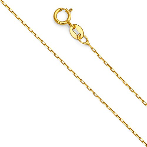 - 14k Yellow Gold Solid 1mm Oval Angled Cut Rolo Cable Chain Necklace with Spring Ring Clasp - 22