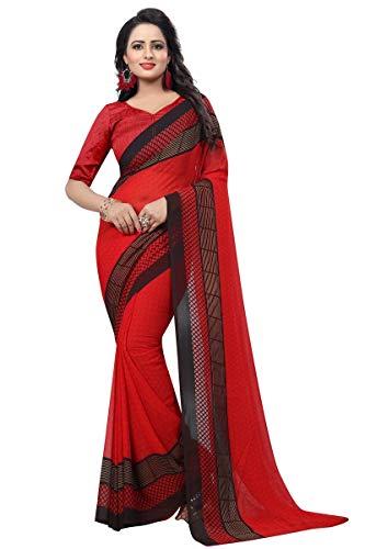 (Peegli Saree Women's Georgette Printed Sari Red Casual Saree with Blouse Piece)