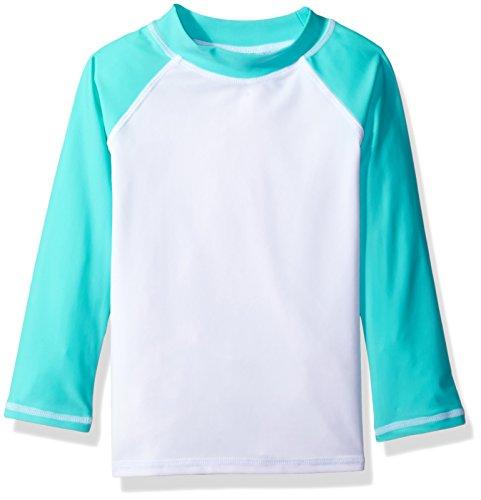 Flap Happy Little Girls' UPF 50+ Colorblock Rash Guard/Swim Top, Riviera, 3 ()