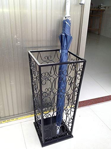BeesClover Wrought Iron Umbrella Stand Household Storage Bucket Square Umbrella Umbrella Barrel Vintage Black