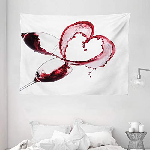 Ambesonne Wine Tapestry, Heart Shape with Spilling Red Wine in Glasses Romantic Valentines Day Concept, Wide Wall Hanging for Bedroom Living Room Dorm, 80 X 60 , Burgundy White