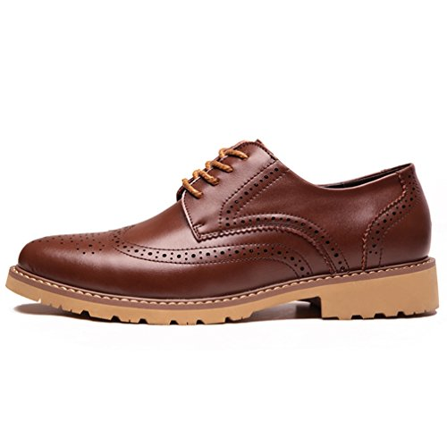 PU Chaussure Confortable Loisir Mariage Souple Caoutchouc Homme Lacet Style Marron Brogue à Ville Cuir de British Derby Travail Feidaeu Souliers Mode xPO0AXFqcZ
