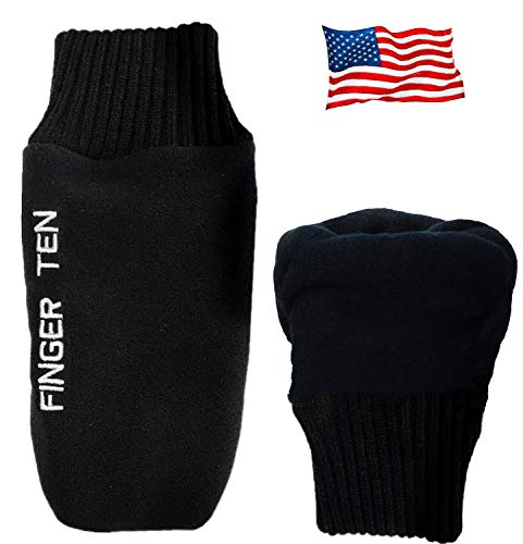 FINGER TEN Winter Golf Gloves Men Mitts Mitten Warm Fleece in Pair, Pull Up Fit Soft Comfortable Set (X-Large)