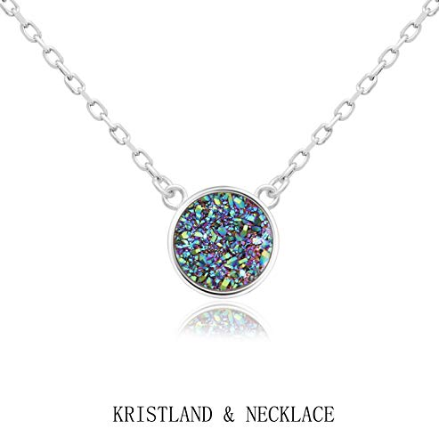 (KristLand - 925 Silver Necklace Simple Style Natural Druzy Round Rainbow Stone Pendant Adjustable Chain Green Colorful Color)