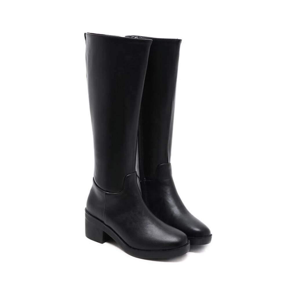 Mid Calf Stiefel Retro Knight Stiefel Kniehohe Stiefel Damen Runde Zehe Zipper Martin Boot Eu Größe 35-40