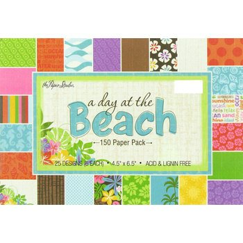 A Day At The Beach Scrapbook Paper Pad, 4.5 x 6 Hibiscus, Palm Trees, (Day Paper Pad)