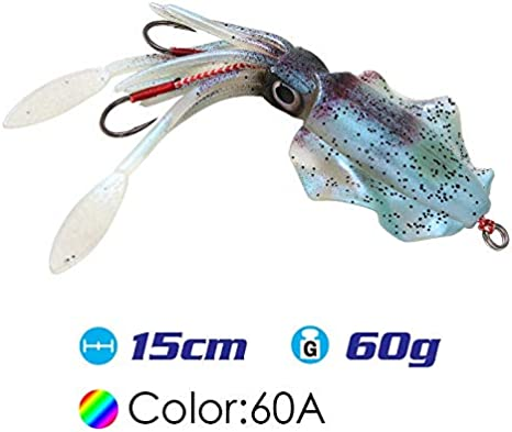 Color : SQ M 60A 60g UV Glow Pesca Richiamo Morbido Polpo Calamar Pesca Mar Mare Pesca wobbler Esca Calamari Maschere Esche da Pesca in Silicone richiamo NO LOGO CCH-Lures 15 cm