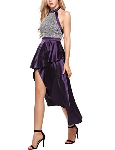 ANGVNS Fit and Flare Satin Purple Skater Bridesmaid Dress Violet Large