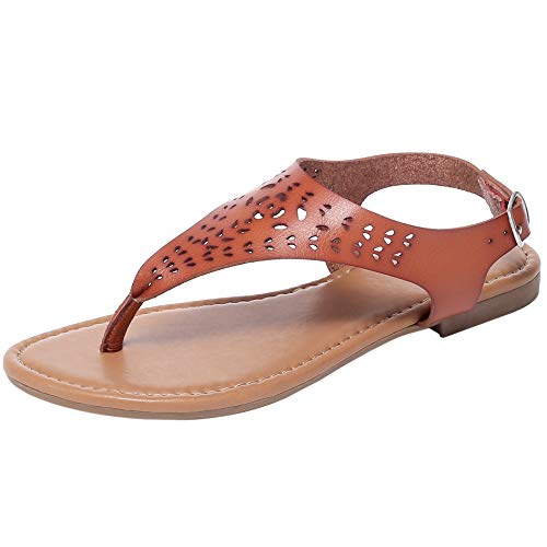 Ataiwee Women's Casual Wear Wide Width Flat Sandals with T-Strap Thong Toe Back Strappy.(1903060 Darkbrown 6)