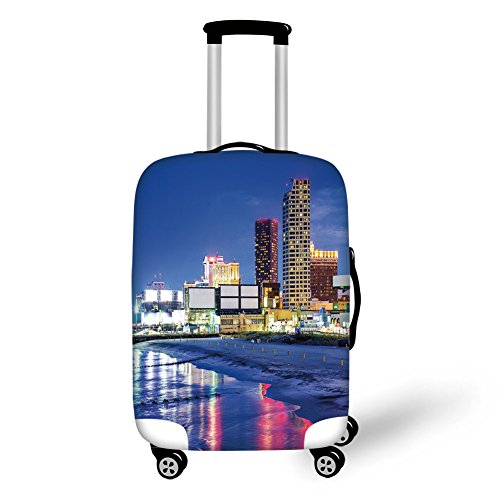Travel Luggage Cover Suitcase Protector,City,Resort Casinos on Shore at Night Atlantic City New Jersey United States,Violet Blue Pink Yellow,for ()