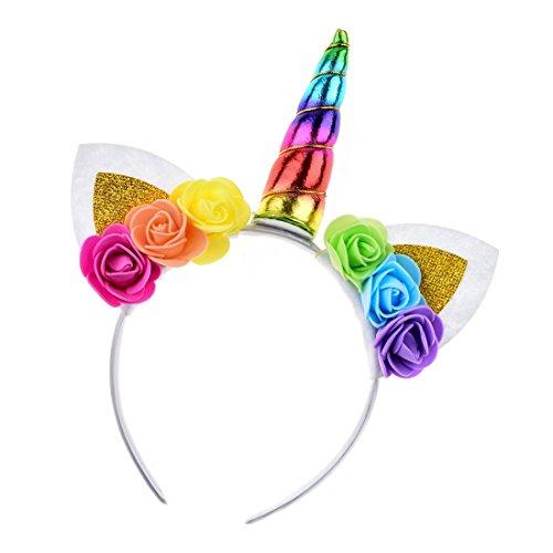 Daisyu Shiny Unicorn Horn Ears Flower Headband Cosplay Costume Easter Headpiece (unicorn colorful) -
