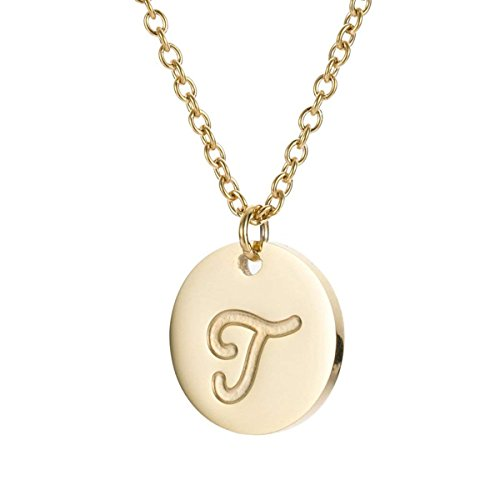 Filled Disc Gold (TTVOVO Initial Letter Necklace Stainless Steel 18K Gold Filled Engraved Personalized Disc 26 Alphabet Monogram Name Charms Pendant Necklace for Women - Letter T)