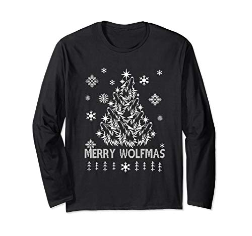 Merry Wolfmas Christmas Gift For Men Women Long Sleeve T-Shirt (Christmas Land Merry Ls)