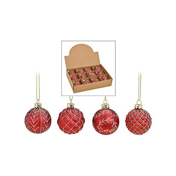 MC, set di 12 palle di Natale in vetro, Ø 6 cm, palle per albero di Natale, decorazione natalizia, Vetro, Oro rosso, Ø 6cm 1 spesavip