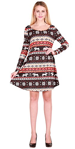 SgaSong Multicolor Halloween and Christmas Print Long Sleeve Swing Dress (Halloween Shows Nyc 2017)