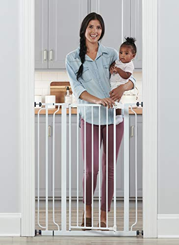 Regalo Easy Step Extra Tall Walk Thru Baby Gate, Includes 4-Inch Extension Kit, 4 Pack of Pressure Mount Kit and 4 Pack Wall Cups and Mounting ()