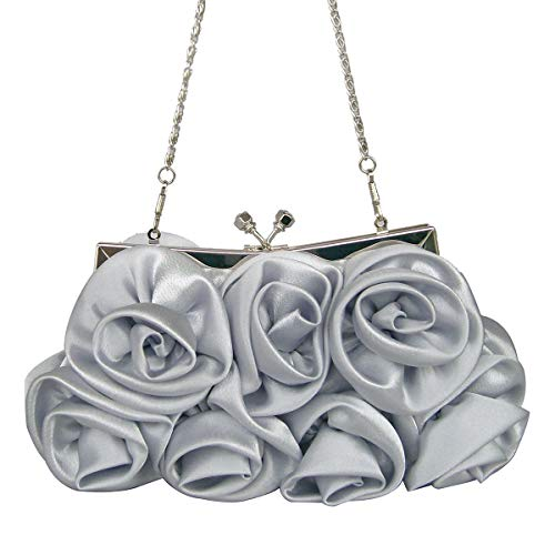 (Unique Ruffle Silk Women Evening Clutch Fashion Applique Rose Flower Kiss Lock Chain Bride Wedding Crossbody Shoulder Bag (Silver))