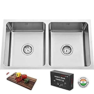 """SILVER LINE Low Radius Double Bowl Stainless Steel 304 Grade Kitchen Sink (31"""" x 18"""" x 9"""")"""