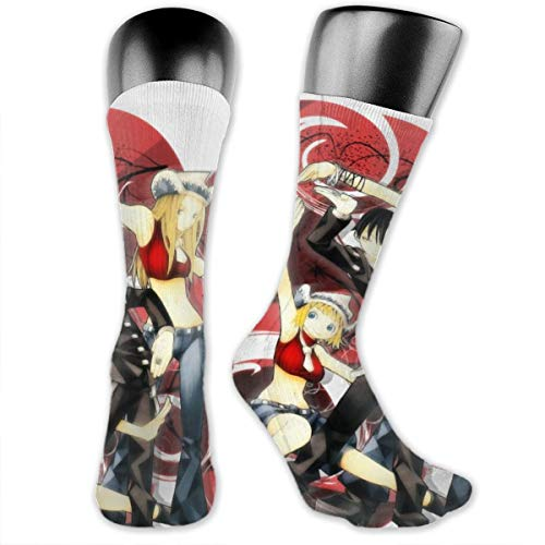 Unisex Novelty Socks Mid-Calf Crew Socks Comfortable Warm High Ankle Compression Socks For Home Work Athletic Outdoor Activities - Soul Eater Death The Kid Liz And Patty (Death The Kid And Liz And Patty)