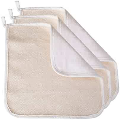 Evriholder Soft-Weave Home Spa Exfoliating Face and Body Wash Cloths, Dual-Sided With Exfoliating Scrub and Soft Terry Cloth, Set of 3