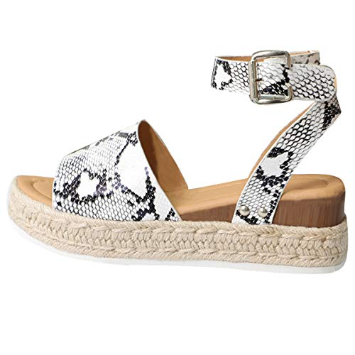 Gnpolo Womens Snakeskin Wedge Platform Sandals with Ankle Strap Open Toe Flatform Strappy Summer Shoes
