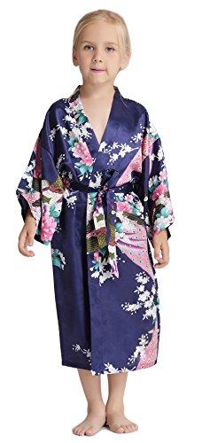 Aibrou Girls Peacock Satin Kimono Robe Bathrobe Nightgown Party Wedding