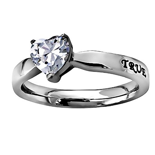 """Christian Womens Stainless Steel Abstinence 3mm 1 Timothy 4:12 """"True Love Waits"""" CZ Heart Solitaire Chastity Ring for Girls Girls Purity Ring Comfort Fit Ring"""