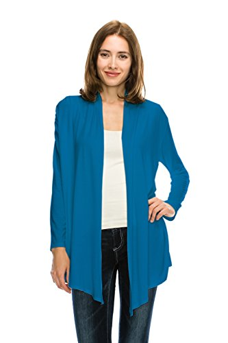 Jubilee Couture JC Womens Easy Wear Super Soft Open Front Drape Long Sleeve Cardigan Made in USA-Large,Teal