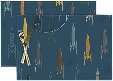 Cloth Placemats Retro Rocket Vintage Mid Century Modern Atomic Space Set of 2