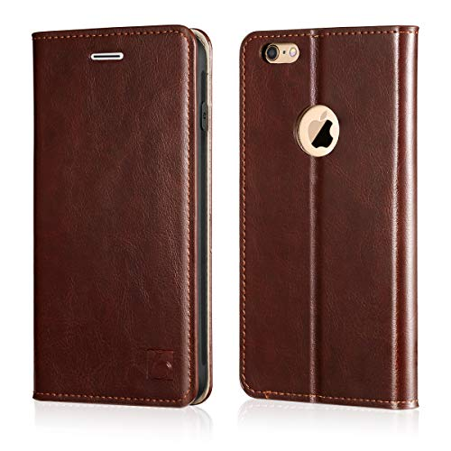 Belemay iPhone 6s Plus Case, iPhone 6 Plus Case, Genuine Leather Case Slim Wallet Flip Cover [Durable Soft TPU Inner Case] Card Holder Slots, Kickstand, Cash Pocket Compatible iPhone 6/6s Plus, Brown