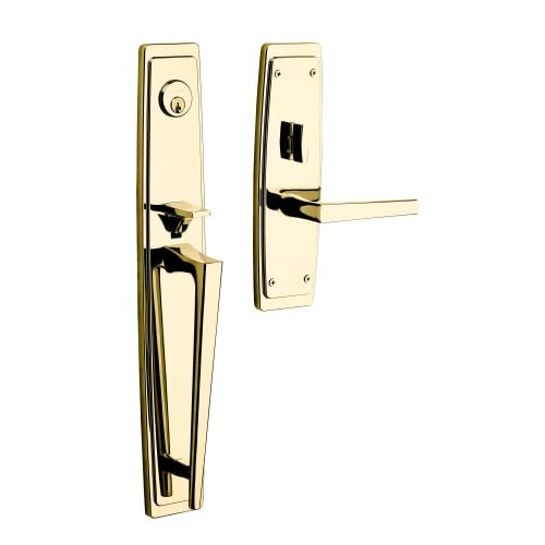 (Baldwin 6921.LENT Palm Springs Left Handed Single Cylinder Keyed Entry Mortise F, Satin Brass and Black)