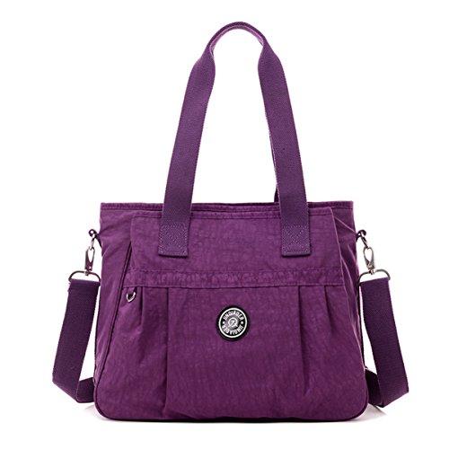 Tiny-Chou-Handtasche aus Nylon mit Handtragegriff oben und abnehmbarem Schultergurt, Crossbody-Tasche, wasserfest violett