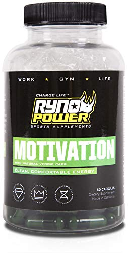 Ryno Power Motivation Capsules – Natural Boost for Mental and Physical Performance – Gluten Free / Banned Substance Free / All-Natural