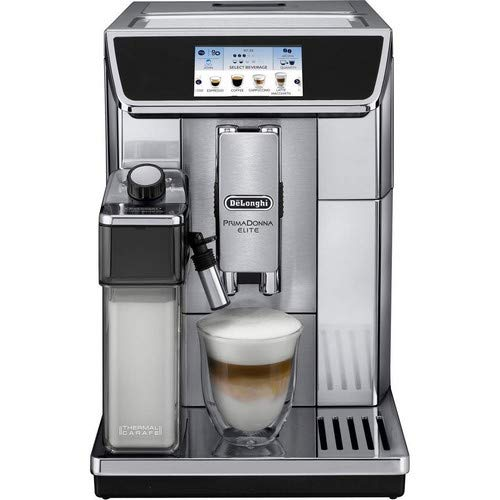 Delonghi super-automatic espresso coffee machine with double boiler, milk frother, chocolate maker for brewing espresso, cappuccino, latte, macchiato & hot chocolate. ECAM65075MS PrimaDonna