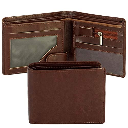 Storite Front Pocket Money Bifold Wallet PU Leather Purse Credit Card Holder Wallet for Men with Gift Box – Brown