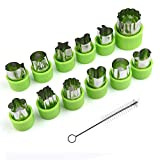 vegetable cutter kids - KUUQA Vegetable Cutter Shapes Set Flower Star Cartoon Animals Fruit Mold Decorating Tools for Cookies Fruit Decoration Kids Baking Craft Supplies with Cleaning Brush,12PCS