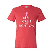 Adult Keep Calm And Fight On Breast Cancer Awareness Triblend T-Shirt