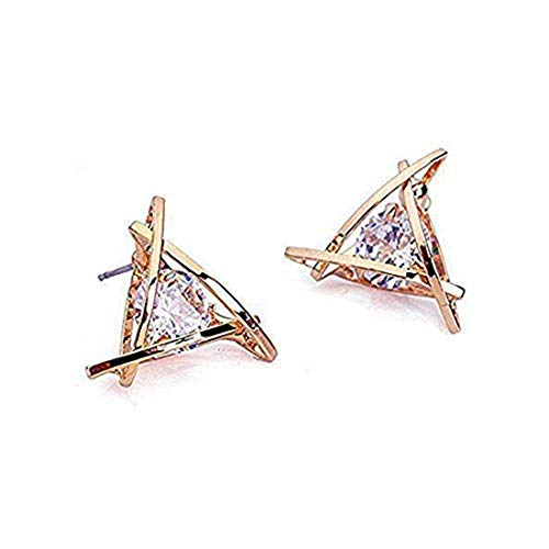 Carfeny Rose Gold Stud Earrings Triangle Shaped CZ Earrings for Women Expertly Made of Sparkling Starlight Round Cut Cubic Zirconia, ??Gift for Her??