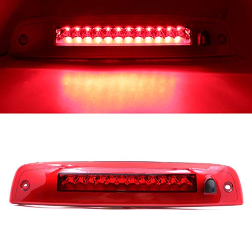(Rear Roof Center LED Third 3rd Brake Cargo Light Assembly, High Mount Stop Tail Light Replacement for 2003-2016 Ford Expedition, 2003-2016 Lincoln Navigator (Chrome Housing Red Lens))
