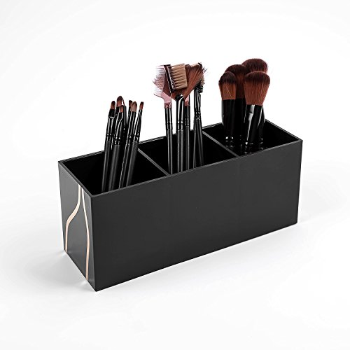 vencer makeup brush holder organizer 3 slot acrylic cosmetics brushes storage ebay. Black Bedroom Furniture Sets. Home Design Ideas