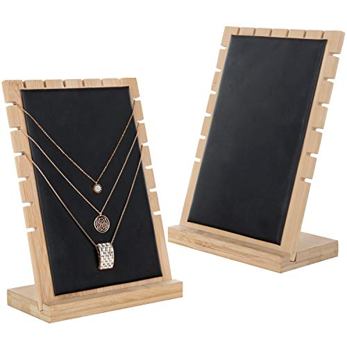 MyGift Modern Bamboo Necklace Jewelry Tabletop Display Boards, Set of 2,Black