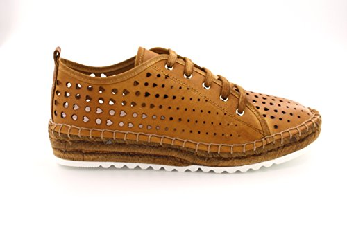 Agilis Barcelona Huebra Womens Perforated Italian Leather Laced Up Bamboo Espedrille Shoes Fashion Sneakers With Memory Insole Canela n24ofTjf93